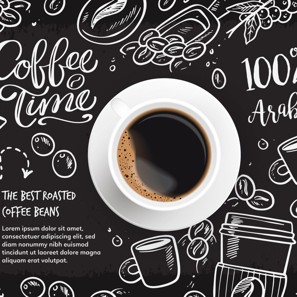 coffee cup with infographics text in background coffee time